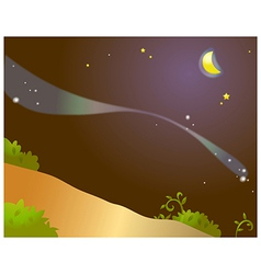 Starry night landscape vector