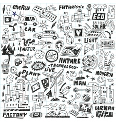 Technology - doodles set vector