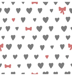 Hand drawn seamless pattern with hearts and bows vector