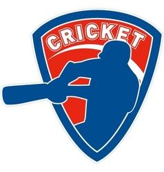 Cricket player batsman batting shield vector