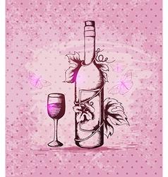 Vintage hand drawn bottle of wine vector