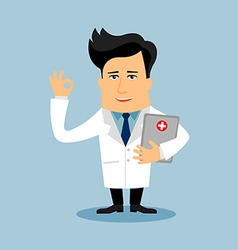 Friendly doctor flat cartoon character vector