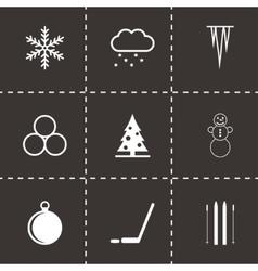 Black winter icon set vector