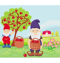 Two dwarfs and apple tree vector