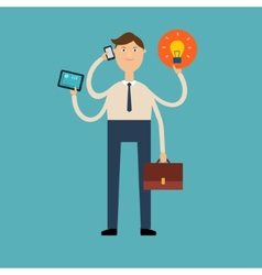 Multi-armed businessman with a phone tablet vector