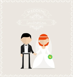 Bride and groom holding hands on invitation card vector