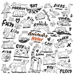 Animals - doodles vector
