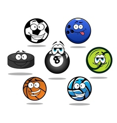 Cartoon sporting balls and puck characters vector