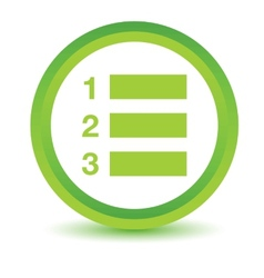 Green numbered list icon vector