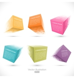 Set of pixelated cube banners vector