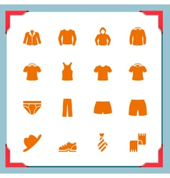 Clothes icons in a frame series vector