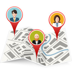 People on map gps location icon isolated vector