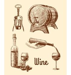 Wine sketch decorative set vector