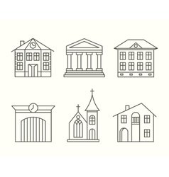 House building icons set in line style vector