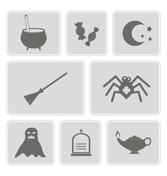 Monochrome icons with symbols of halloween vector
