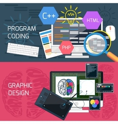 Program coding and graphic design vector
