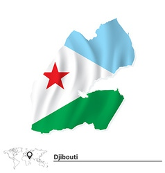 Map of djibouti with flag vector
