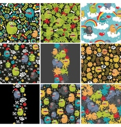 Big set of patterns with monsters vector