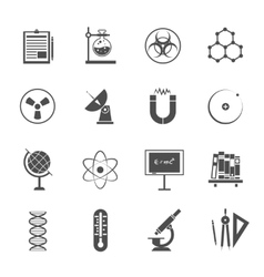 Science icons set black vector