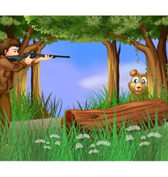 A hunter and a scared bear vector