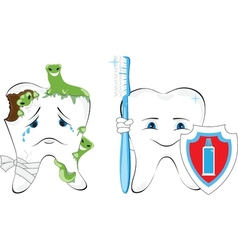 Sick and healthy tooth vector