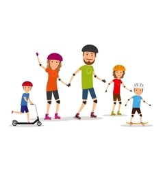 Sports family mom dad and kids roller skate vector