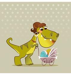 Cartoon dinosaur with stroller vector