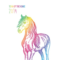 Rainbow chinese new year of horse 2014 isolated vector