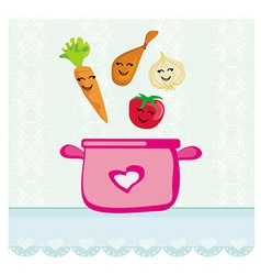 Funny vegetables jumps into the soup vector