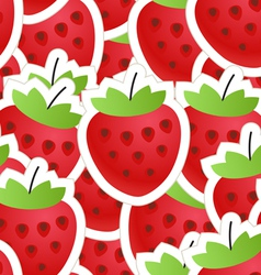 Fresh red strawberry seamless background vector