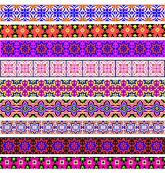 Set of ornamental strips of colored geometric vector