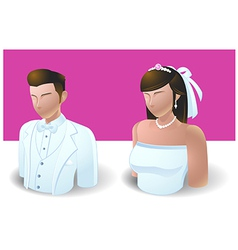 People icons wedding bride and groom vector