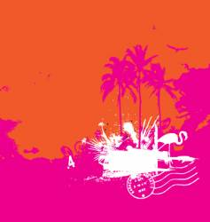 Tropical island vintage style vector