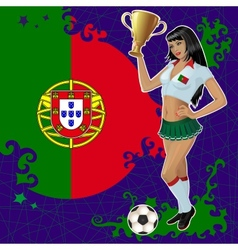 Portugal soccer poster with girl and flag vector