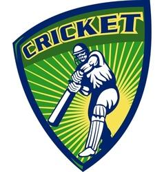 Cricket sports batsman batting shield vector
