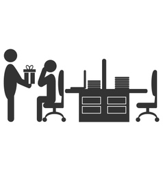 Flat office icon with giving gift worker isolated vector