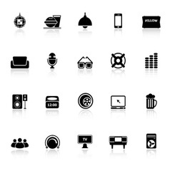 Home theater icons with reflect on white vector