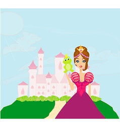 Beautiful young princess holding a big green frog vector