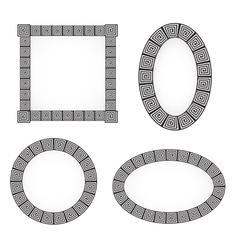 Monochromatic ethnic frame ornamental vector