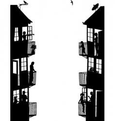 Apartment buildings silhouettes vector