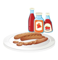 A plate of sausage with ketchups vector
