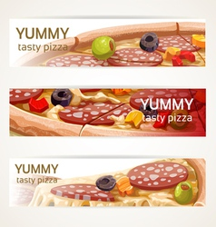 Horizontal banners with tasty pizza vector