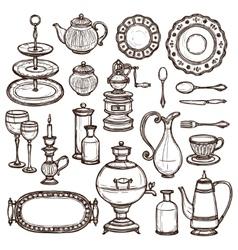 Dishes doodle sketch set print vector