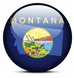Map on flag button of usa montana state vector