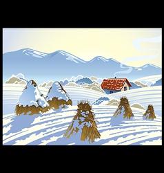 Winter rural landscape vector