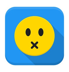 Silent yellow smile app icon with long shadow vector