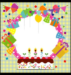 Birthday frame with ballooncake and party hat vector