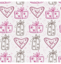 Seamless pattern with gifts and hearts vector