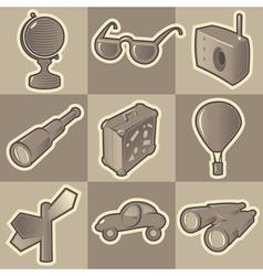 Monochrome travel icons vector