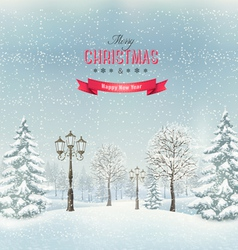 Christmas winter landscape with lampposts vector
